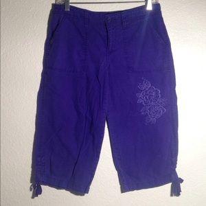Ladies' Faded Glory Purple Potion Emb. Capris (6)